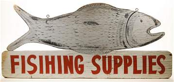 PAINTED 'FISHING SUPPLIES' SIGN