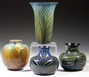 (4 PCS) SALAMANDRA ART GLASS VASES