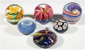 (6) ART GLASS PAPERWEIGHTS