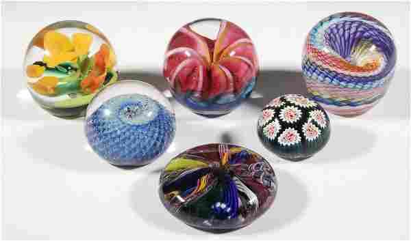 (6) ART GLASS PAPERWEIGHTS