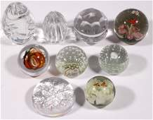 (9) CRYSTAL AND ART GLASS PAPERWEIGHTS