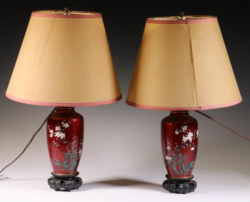 PR JAPANESE RED CLOISONNE TABLE LAMPS