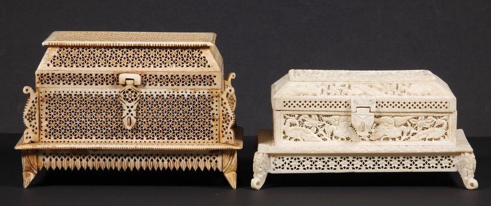 (2) INDIAN BONE PIERCEWORK BOXES