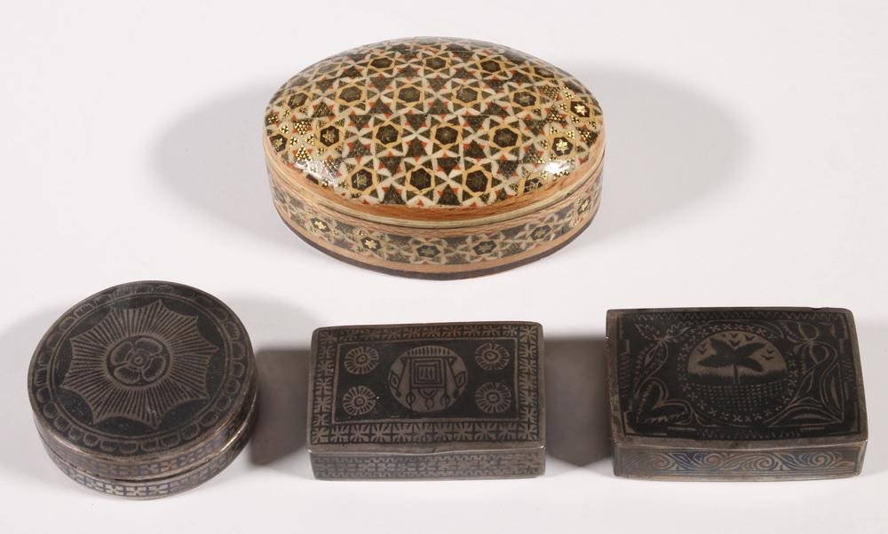 (3) INDIAN NIELLO POCKET BOXES & (1) OVAL INLAID BOX