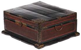 CHINESE WOOD BAMBOO AND BRASS TRAVEL CHEST