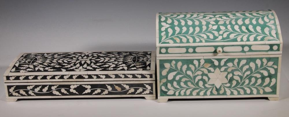 (2) INDIAN INLAID JEWELRY BOXES