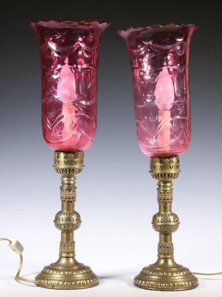 PR CRANBERRY CUT GLASS TABLE LAMPS