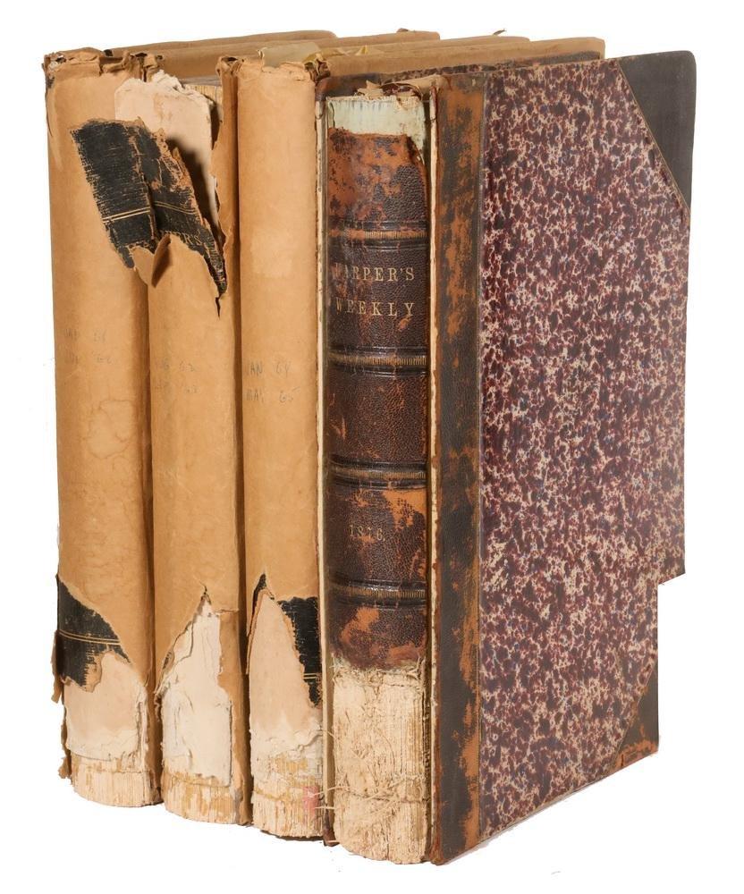 (4 VOLS) BOUND HARPER'S WEEKLY, YEARS 1861-63 &
