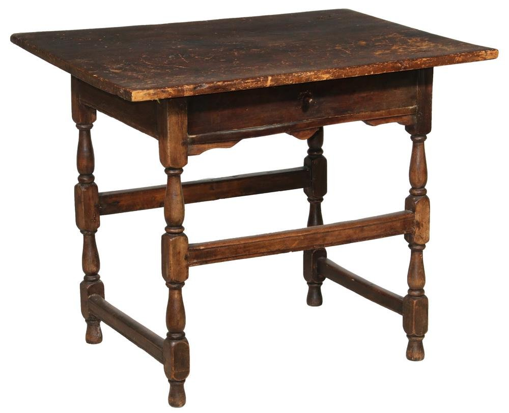 EARLY PAINTED TAVERN TABLE WITH DRAWER