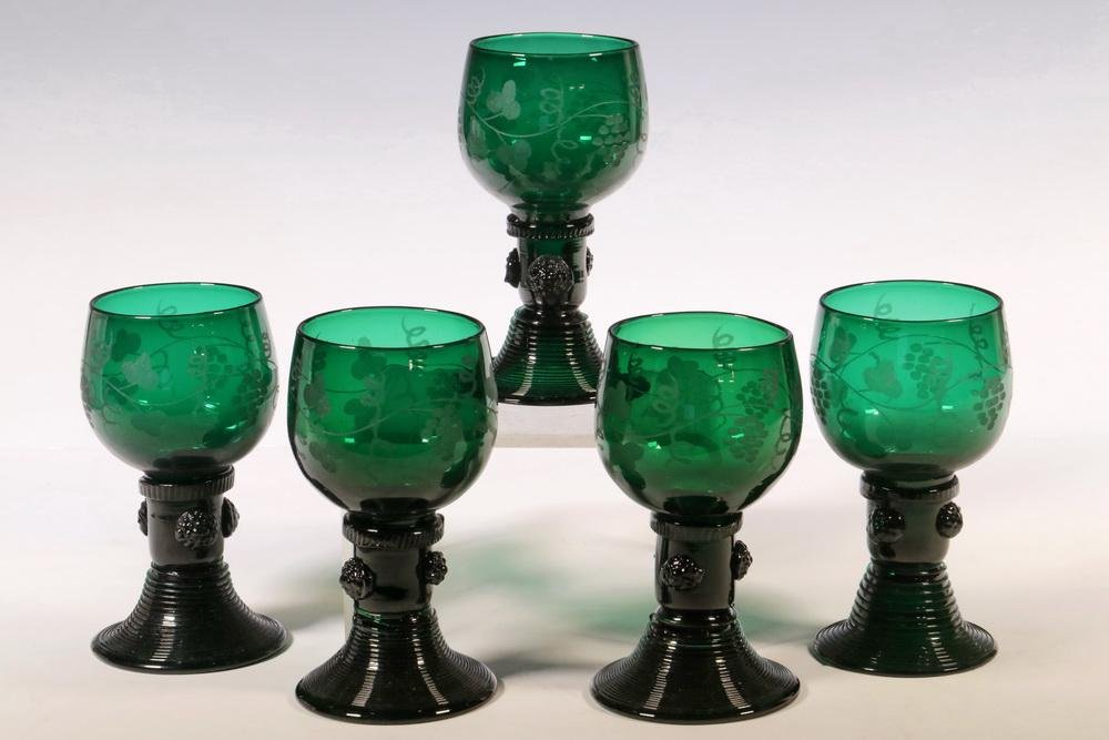 (5) EARLY ROEMER WINE GLASSES