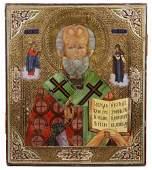 LATE 19TH C RUSSIAN GILT SILVER ICON OF ST NICHOLAS