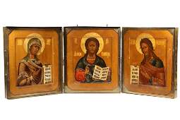 3 RUSSIAN ICONS IN A HEAVY BRASS TRAVELING CASE