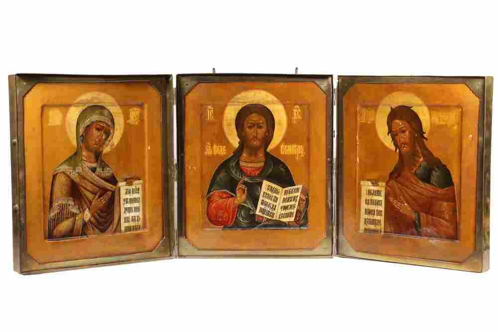 (3) RUSSIAN ICONS IN A HEAVY BRASS TRAVELING CASE