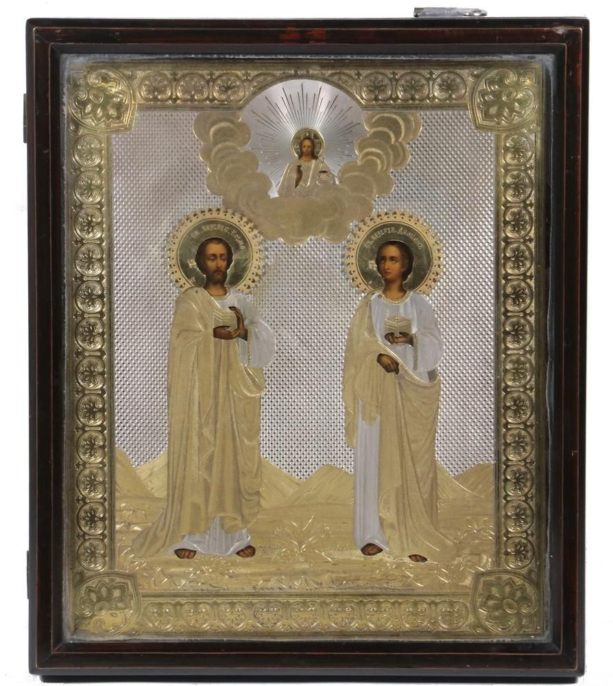 19TH C. CASED RUSSIAN ICON WITH SILVER OKLAD