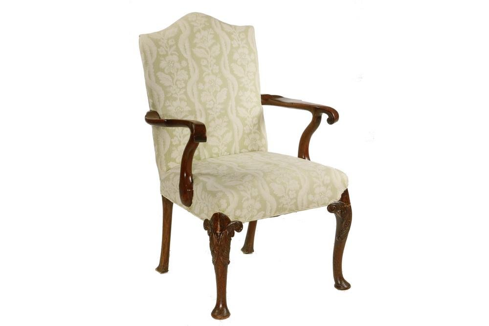 CHIPPENDALE UPHOLSTERED ARMCHAIR