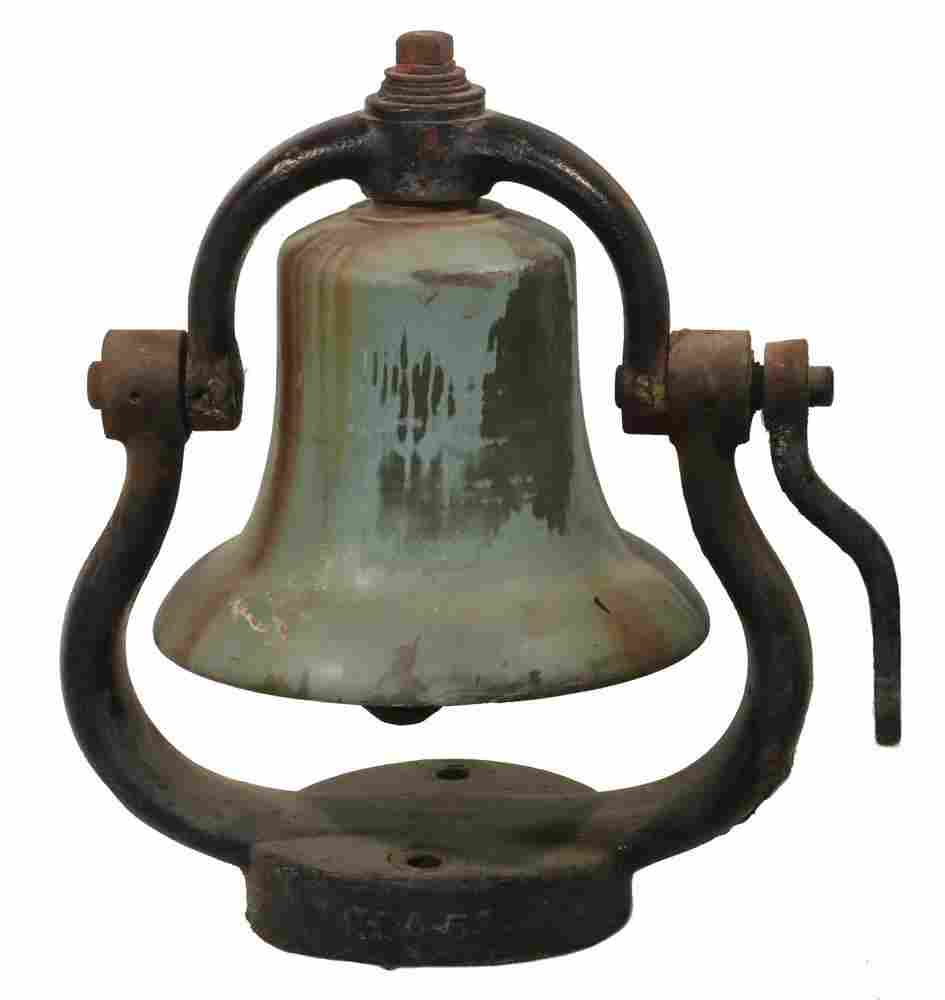 BRONZE TRAIN BELL WITH YOKE AND LEVER
