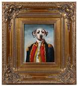THIERRY PONCELET SCHOOL DOG IN UNIFORM PAINTING