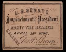 PASS TO IMPEACHMENT OF PRESIDENT ANDREW JOHNSON, FROM