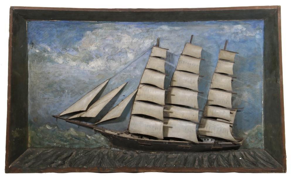 19TH C. FOLK ART SHIP DIORAMA