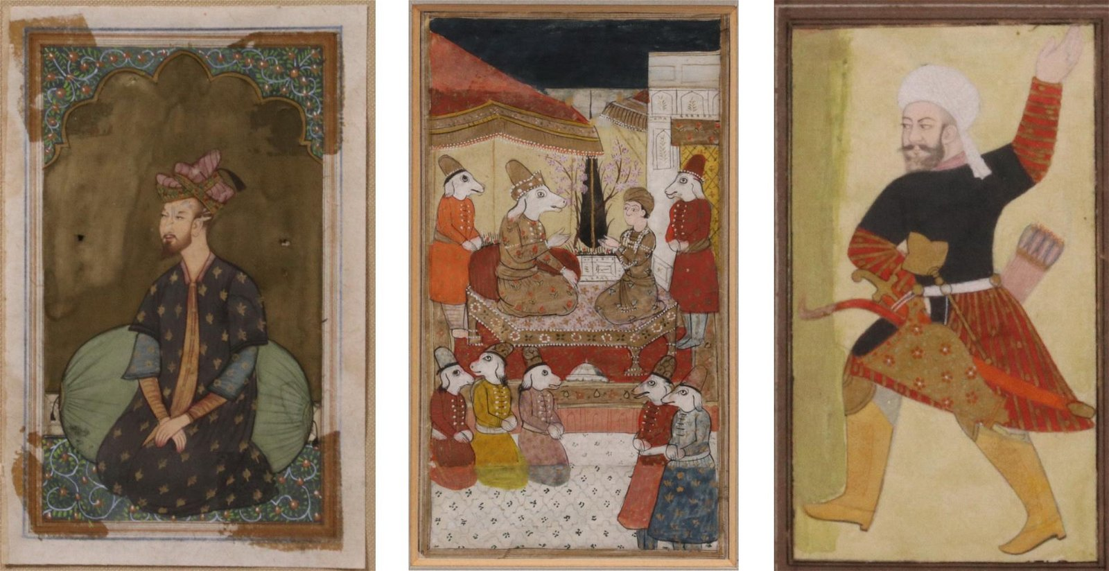 (3) 18TH C. INDIAN MUGHAL PAINTINGS