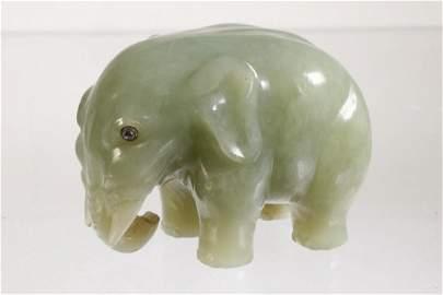 FABERGE MINIATURE CARVED BOWENITE ELEPHANT