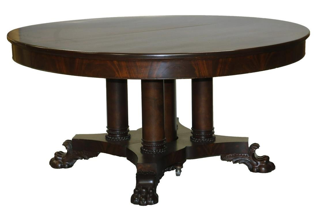 "60"" MAHOGANY ROUND DINING TABLE WITH SIX LEAVES"