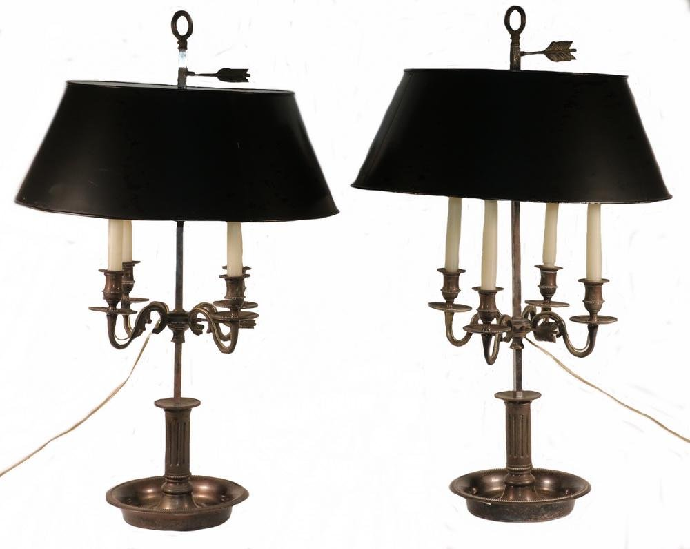 PR OF EMPIRE STYLE SILVER-PLATE TABLE LAMPS