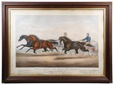 1867 CURRIER  IVES ELEPHANT FOLIO HARNESS RACING PRINT