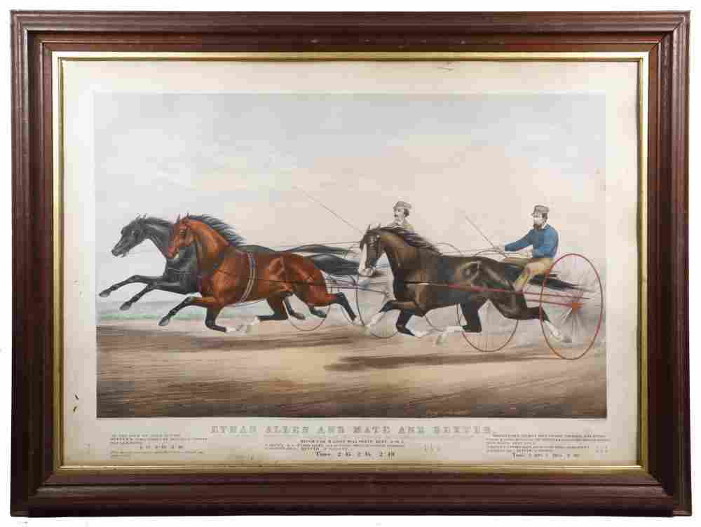 1867 CURRIER & IVES ELEPHANT FOLIO HARNESS RACING PRINT