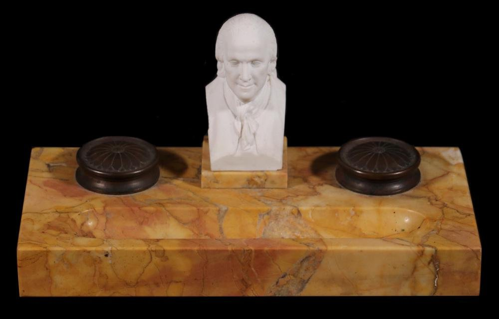 MARBLE INKSTAND WITH BENJAMIN FRANKLIN BUST