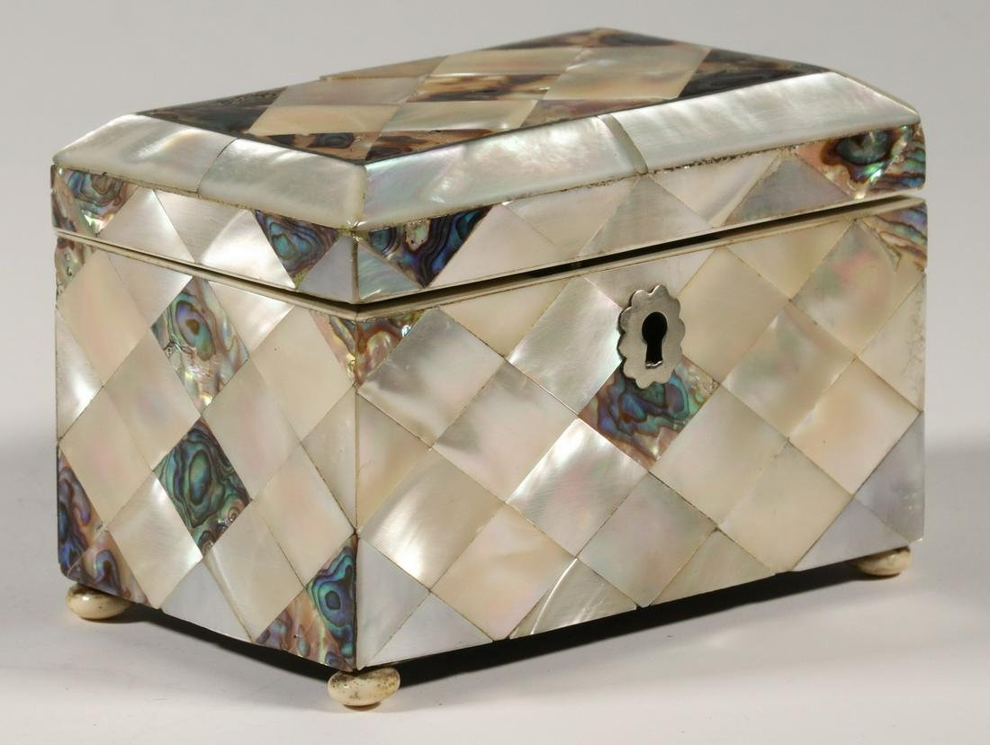MOTHER-OF-PEARL TEA CADDY