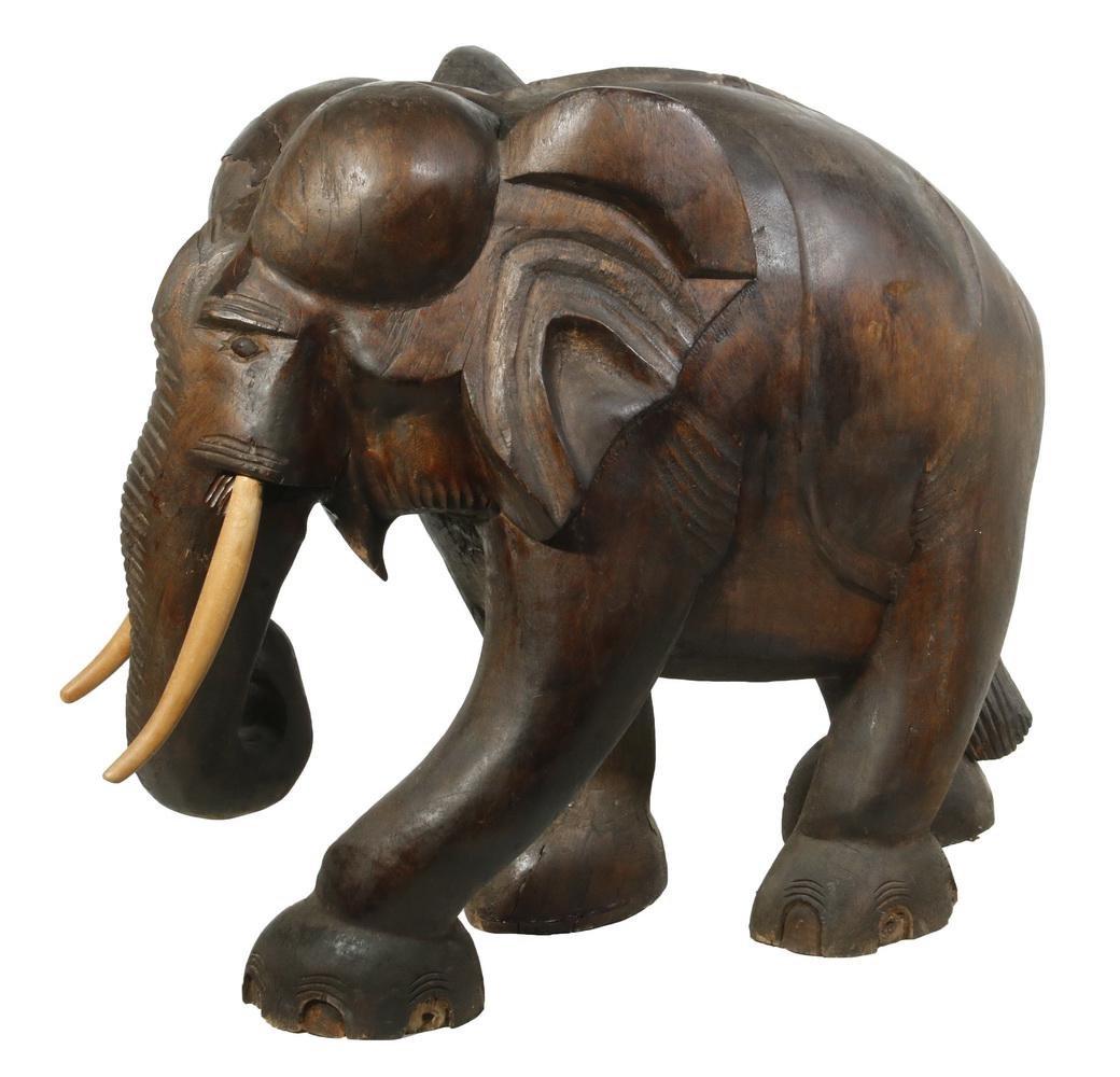 CARVED TEAK WOOD ELEPHANT