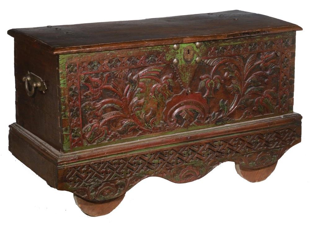 WHEELED WOODEN CHEST, INDONESIA
