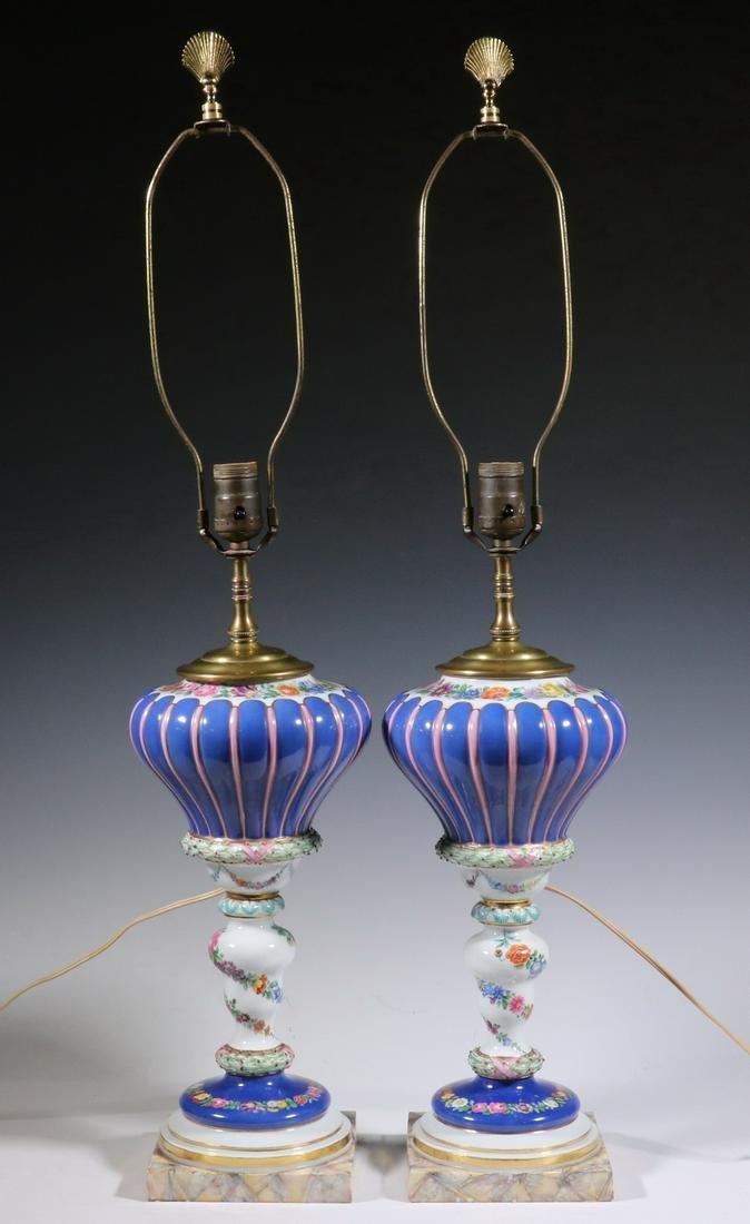 PR MEISSEN PORCELAIN TABLE LAMPS