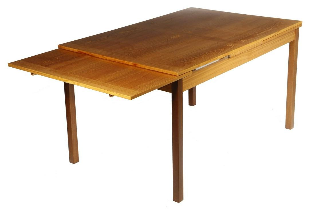 CUSTOM TEAK AND CHERRY TABLE WITH PULL OUT LEAVES