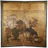 WIDE TWO PANEL JAPANESE FOLDING SCREEN