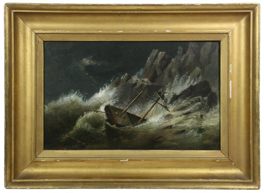NAIVE FOLK ART OIL PAINTING OF A SHIPWRECK