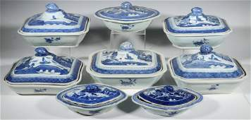 8 CHINESE CANTON LIDDED SERVING DISHES