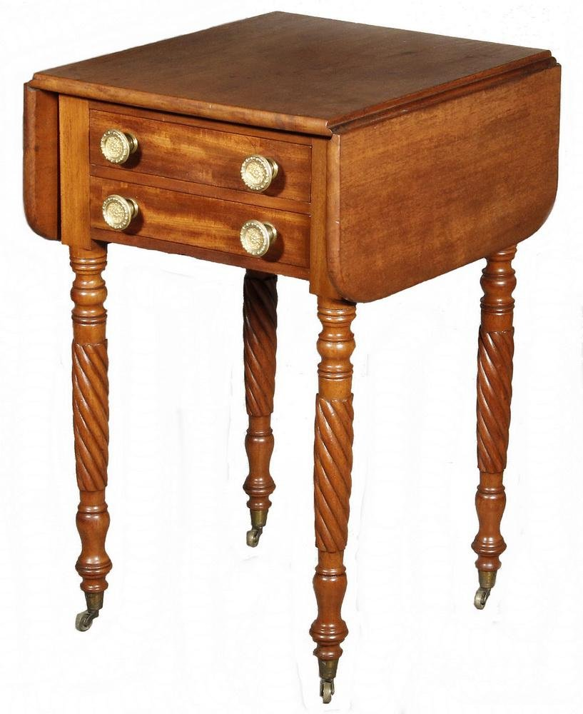AMERICAN TWO DRAWER DROP LEAF WORK STAND