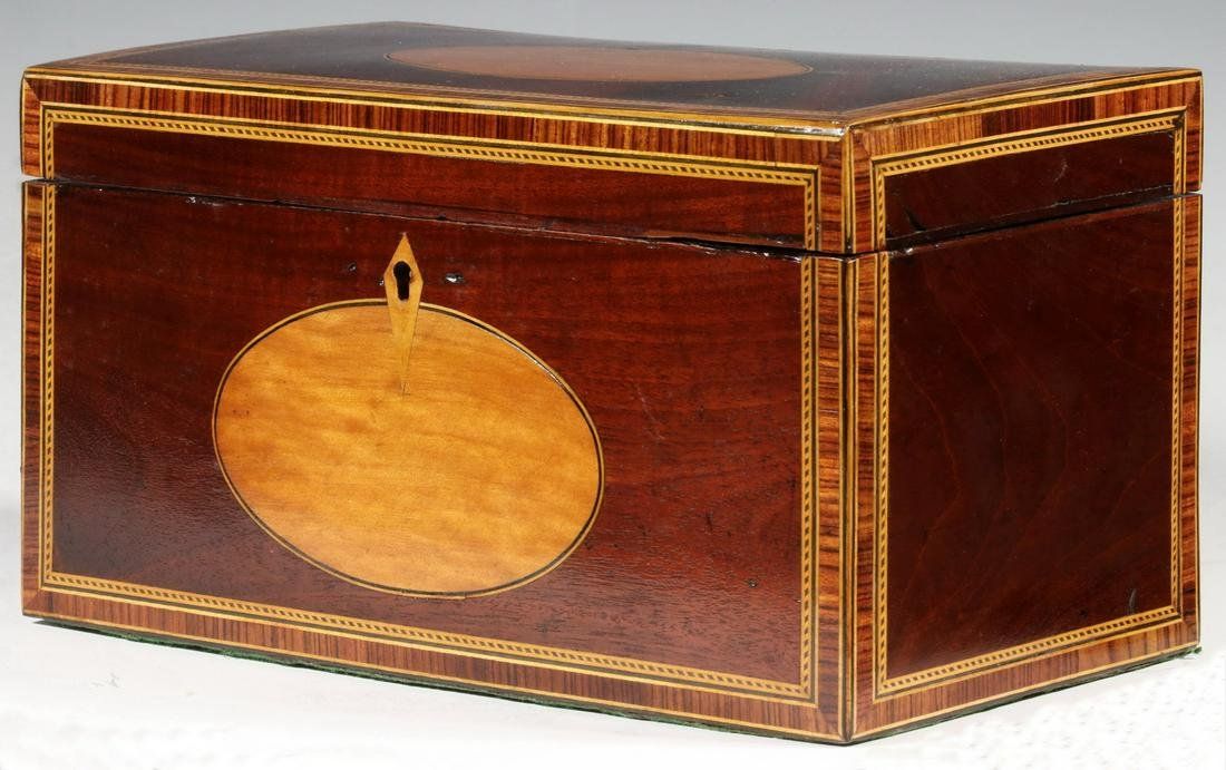 INLAID ENGLISH TRIPLE-COMPARTMENT TEA CADDY