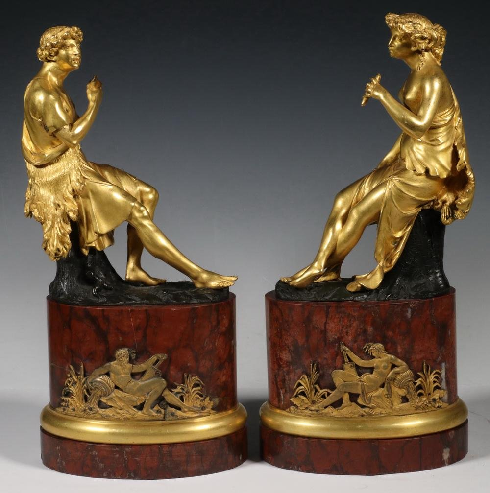 PR FRENCH GILDED BRONZE FIGURAL SCULPTURES