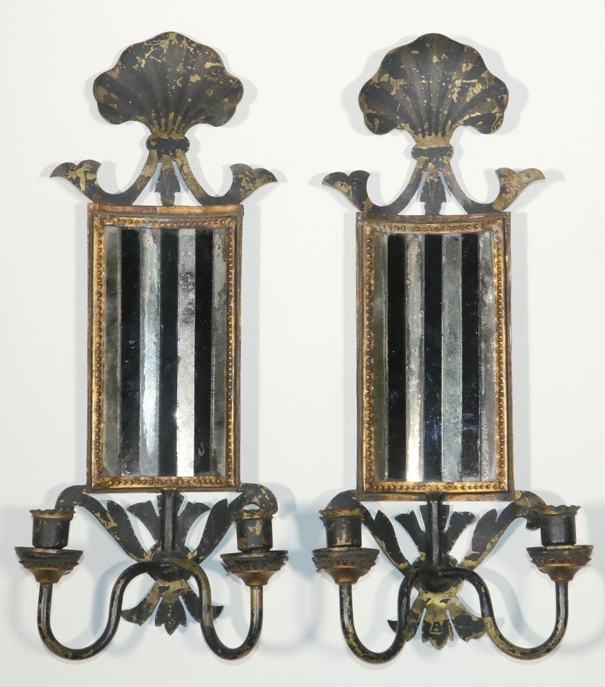 PR TOLE PAINTED BRASS MIRRORED CANDLE SCONCES