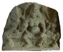 MID-9TH C. INDIAN HINDU STONE SCULPTURE OF JYESHTHA,
