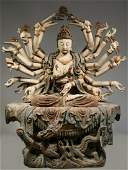"""SINO-TIBETAN GUANYIN OF """"1000 ARMS"""", PAINTED WOOD, TWO"""