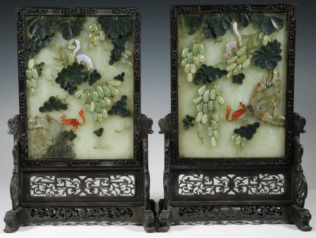 PR CHINESE CARVED HARDSTONE MOUNTED JADE PLAQUES