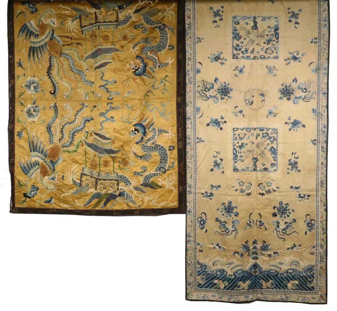 (2) CHINESE SILK EMBROIDERED PANELS