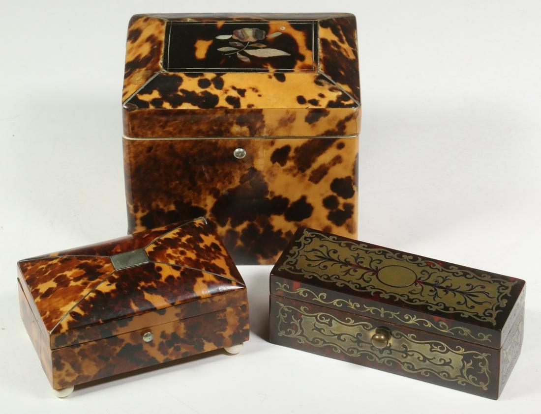 (3) TORTOISESHELL BOXES