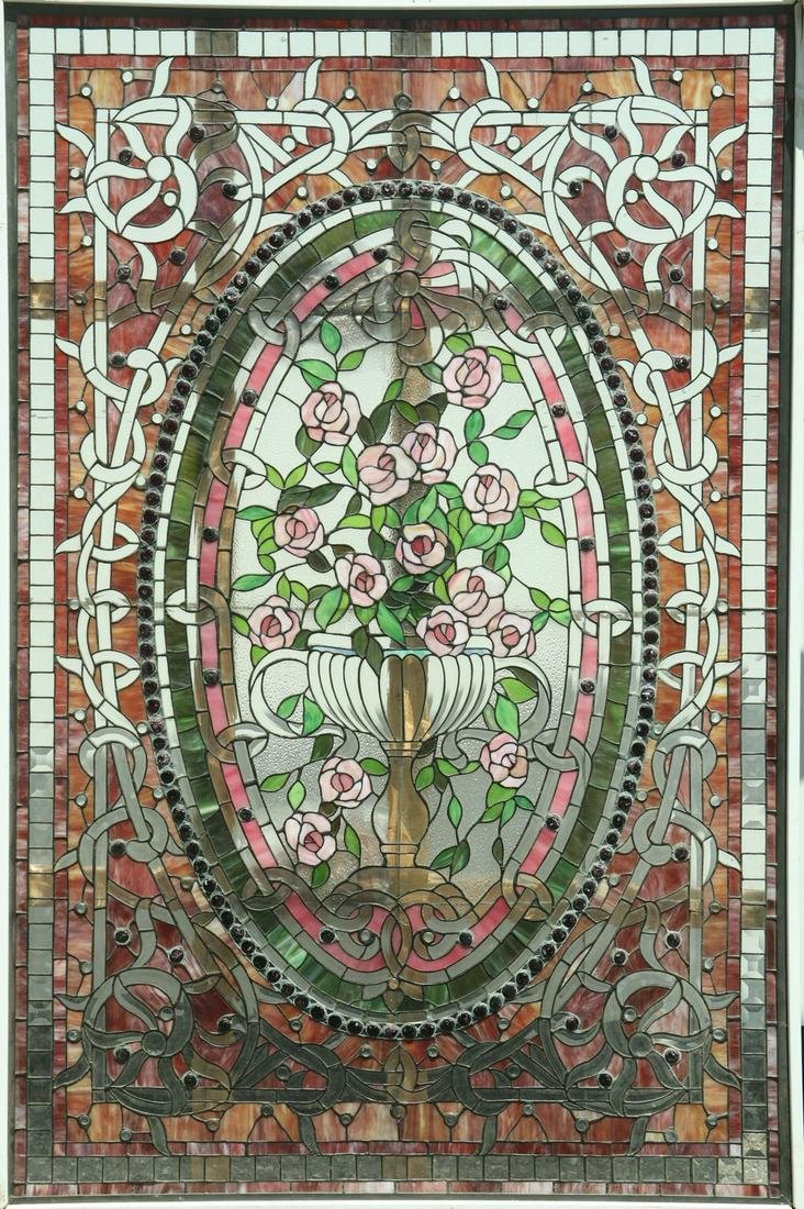 LARGE GILDED AGE STAINED GLASS WINDOW