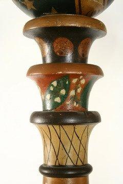 25: Pr Masonic Lodge Columns Wood Painted Globes - 3