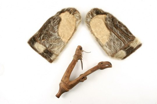 204: Inuit Items Halibut Hook c1850 Sealskin Mittens